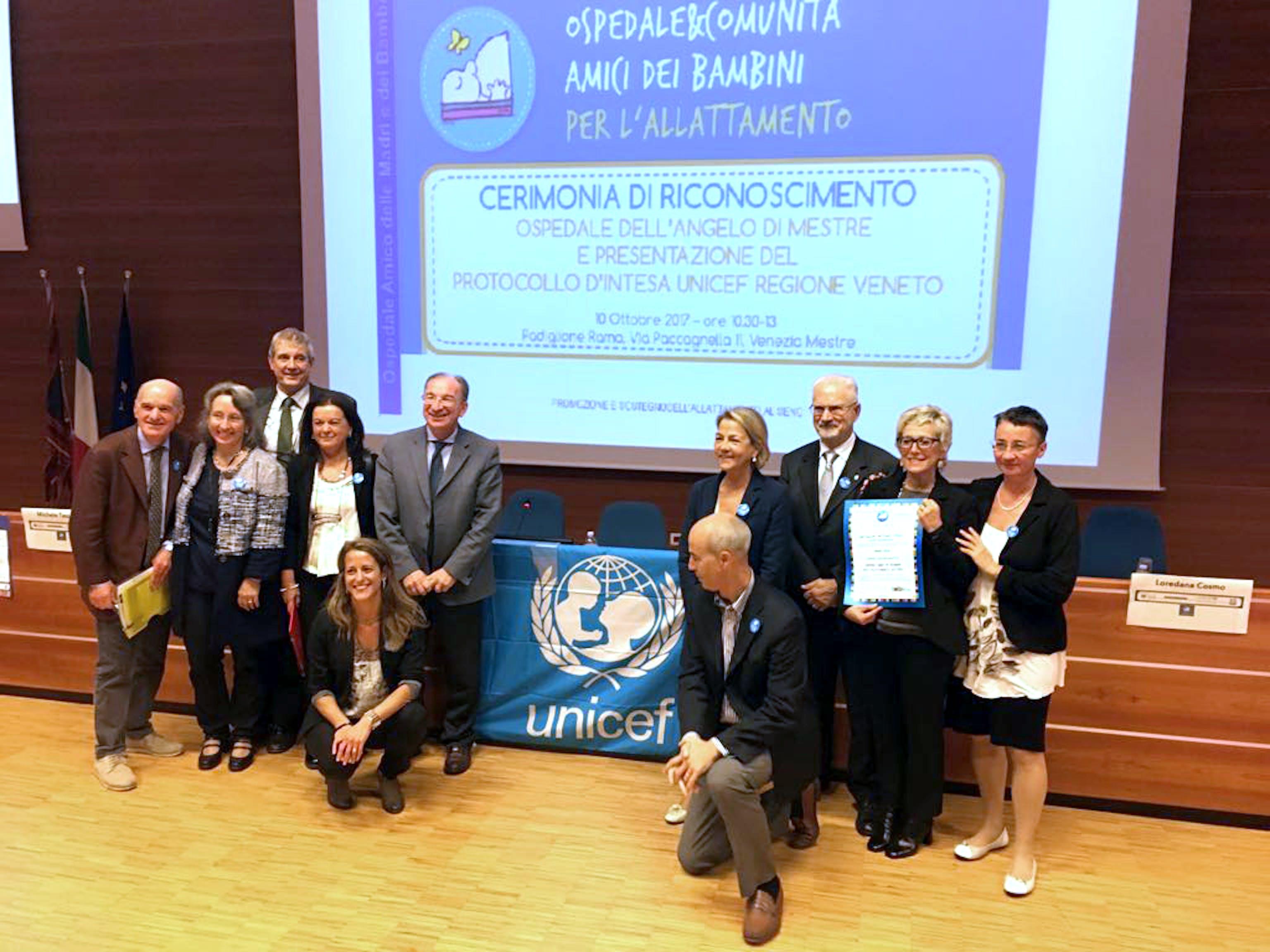"""un momento della cerimonia di consegna del riconoscimento dell'Ospedale dell'Angelo di Venezia come """"Ospedale amico dei bambini"""" - ©UNICEF Italia/2017/E. Chapin"""