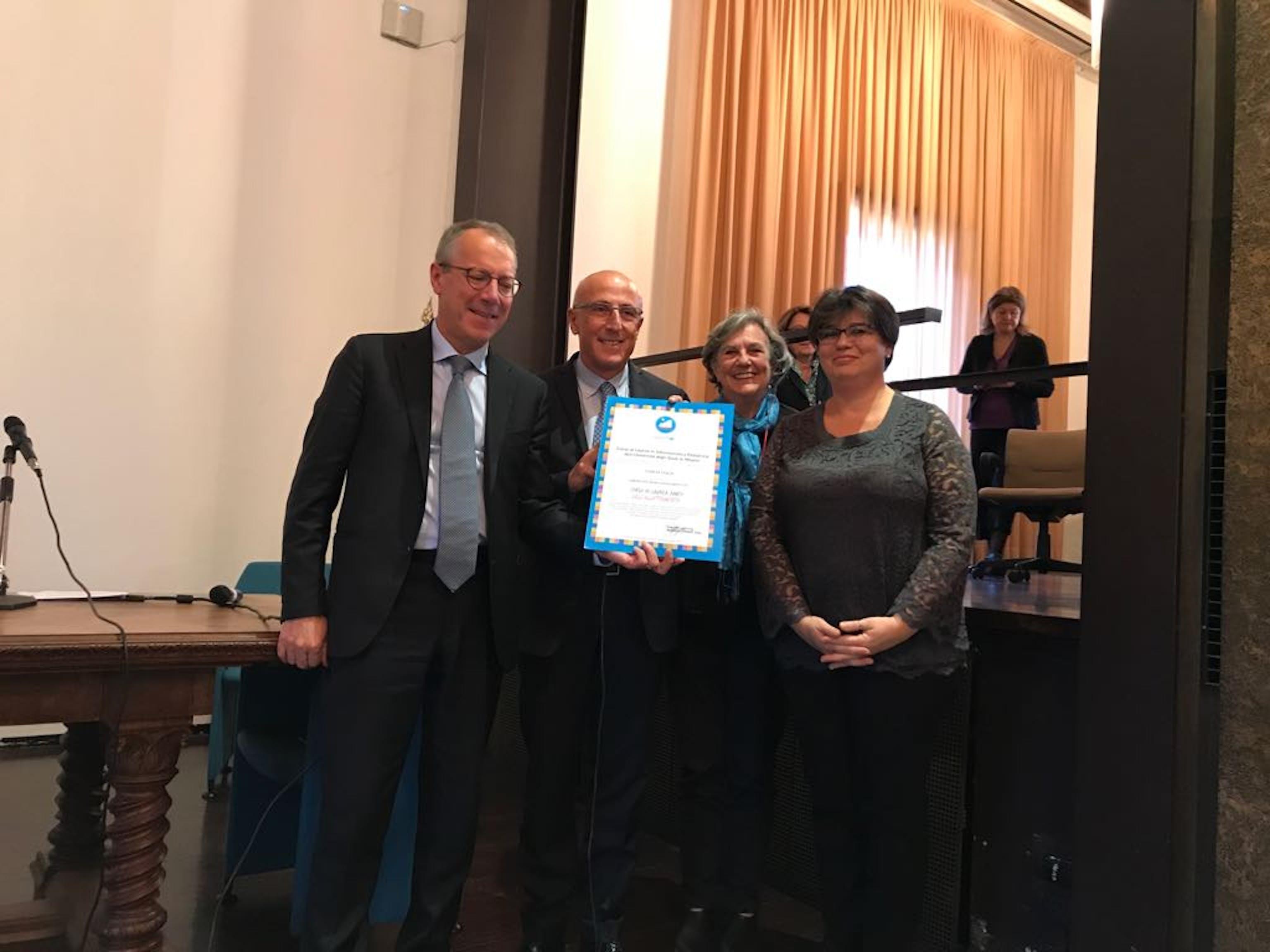 Un momento della cerimonia di riconoscimento del Corso di laurea in Infermieristica pediatrica della Statale di Milano come
