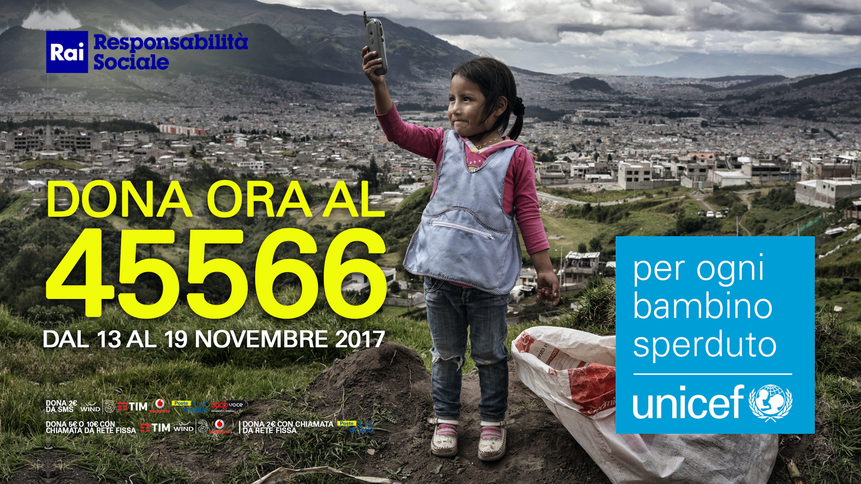 La Rai sostiene la campagna dell'UNICEF a favore dei bambini sperduti