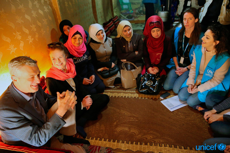 Herrietta Fore e Filippo Grandi durante la missione congiunta UNICEF UHNCR in Libano - © UNICEF/UN0172097/Haidar