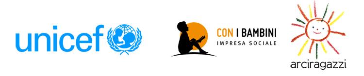 I loghi di UNICEF, ArciRagazzi e Con i Bambini, soggetti promotori del progetto Lost in Education