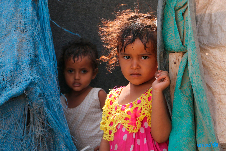 Bambini di Taiz (Yemen) sfollati ad Aden a causa dei combattimenti - ©UNICEF/UN0188089/Abdulhaleem