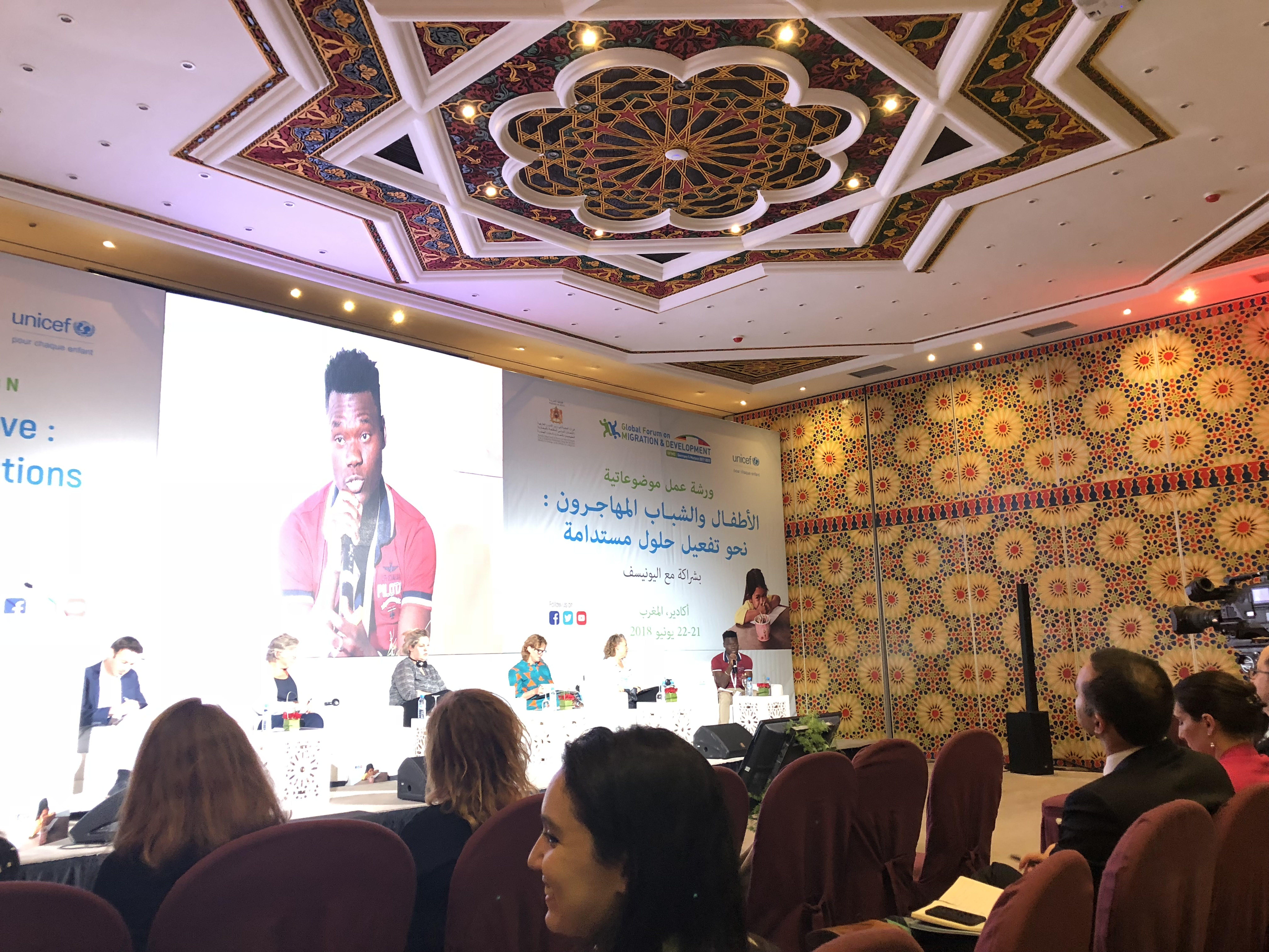L'intervento di un giovane delegato al Forum di Agadir - ©UNICEF/2018/Sarah Crowe