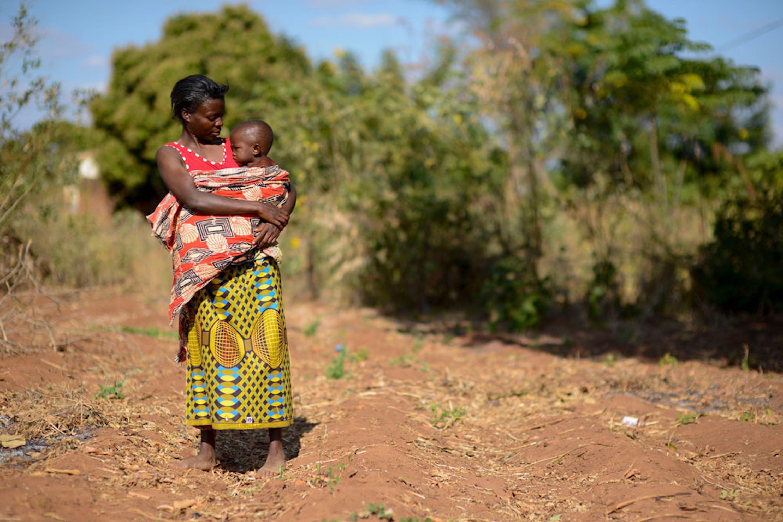 Alinafe con la piccola Desire (2 anni) nel loro campo di mais, devastato dalla siccità, a Balaka (Malawi). Desire riesce a sopravvivere solo grazie all'aiuto nutrizionale dell'UNICEF - ©UNICEF/UN024088/Rich