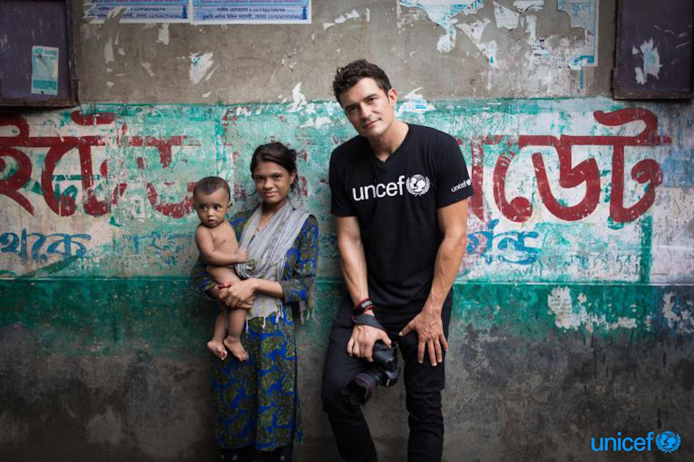 Bangladesh, L'attore e Ambasciatore dell'UNICEF Orlando Bloom nella location dove viene girato