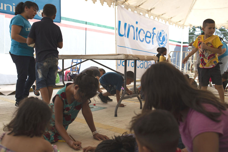 Un centro ricreativo allestito dall'UNICEF al posto di frontiera di Ciudad Hidalgo, in Messico - ©UNICEF/UN0277467/Bindra