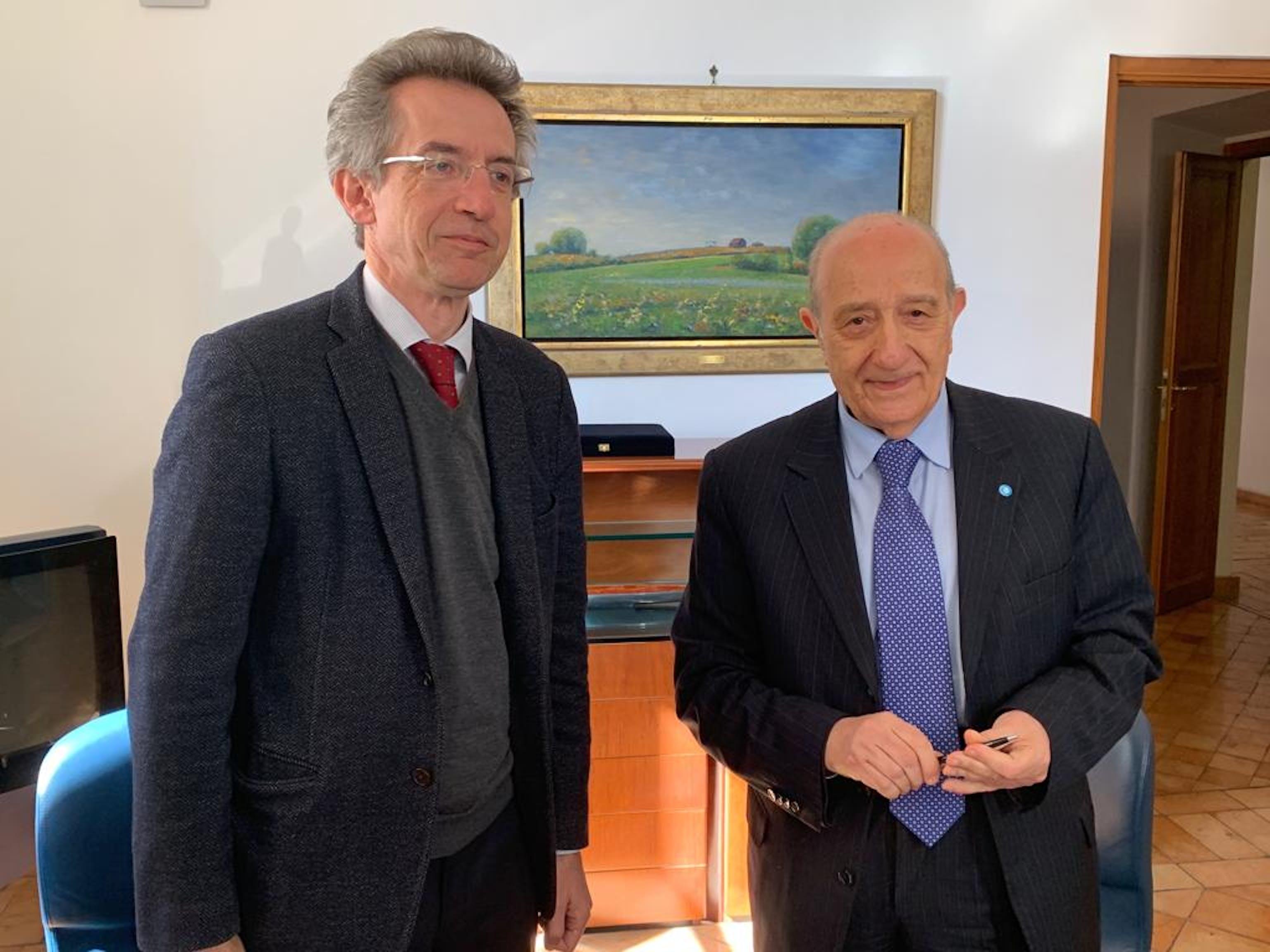 Il Presidente dellì'UNICEF italia F. Samengo con il prof. Manfredi, Rettore dell'Università di Napoli e prof. Gaetano ©UNICEF Italia/2019/C.Ricci