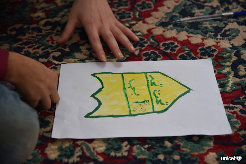 Un disegno di una bomba fatto da un bambino siriano di Aleppo© UNICEF/UN0287075/Grove Hermansen