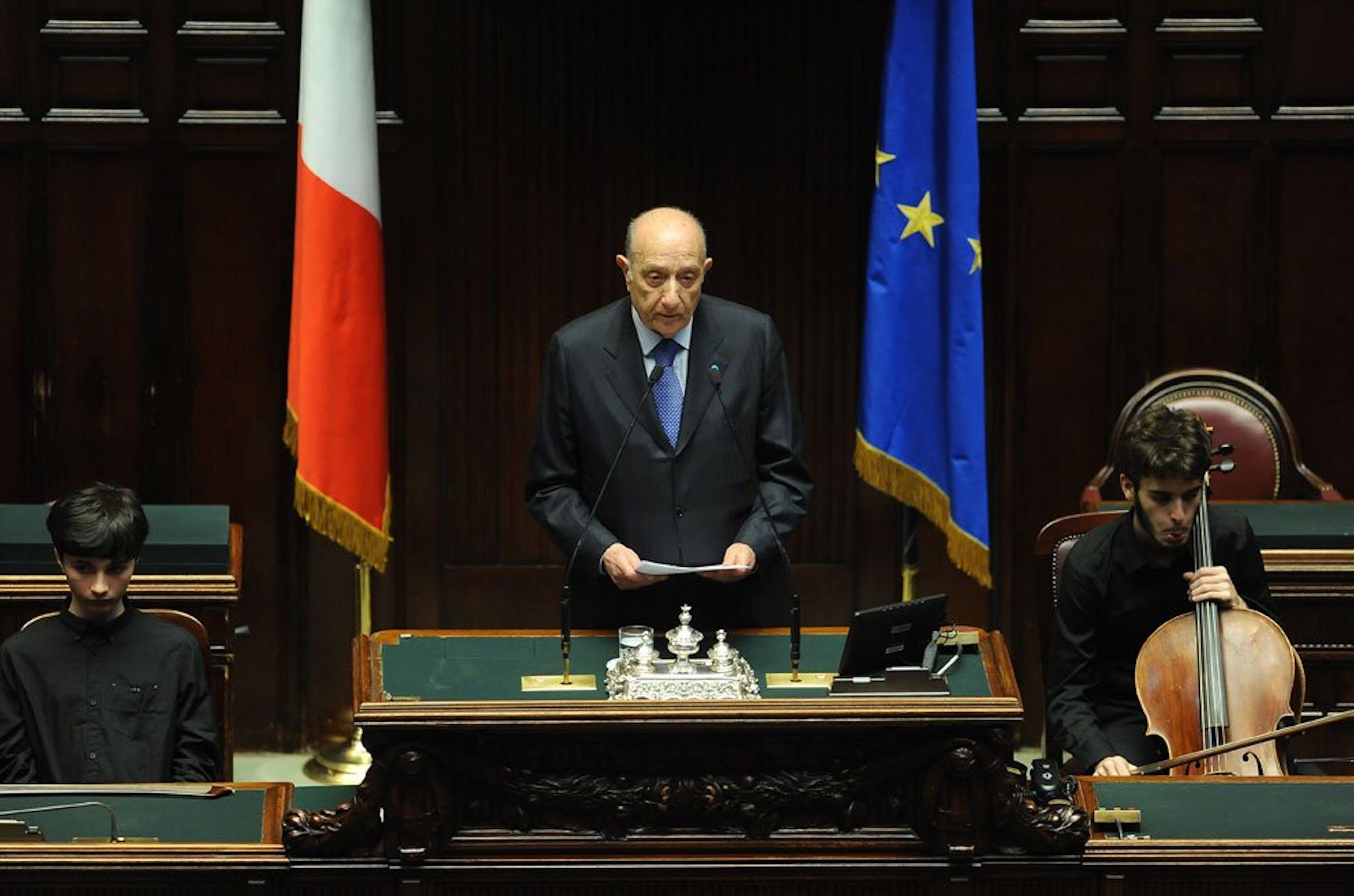 Il Presidente dell'UNICEF Italia Francesco Samengo durante la seduta alla Camera dei Deputati.