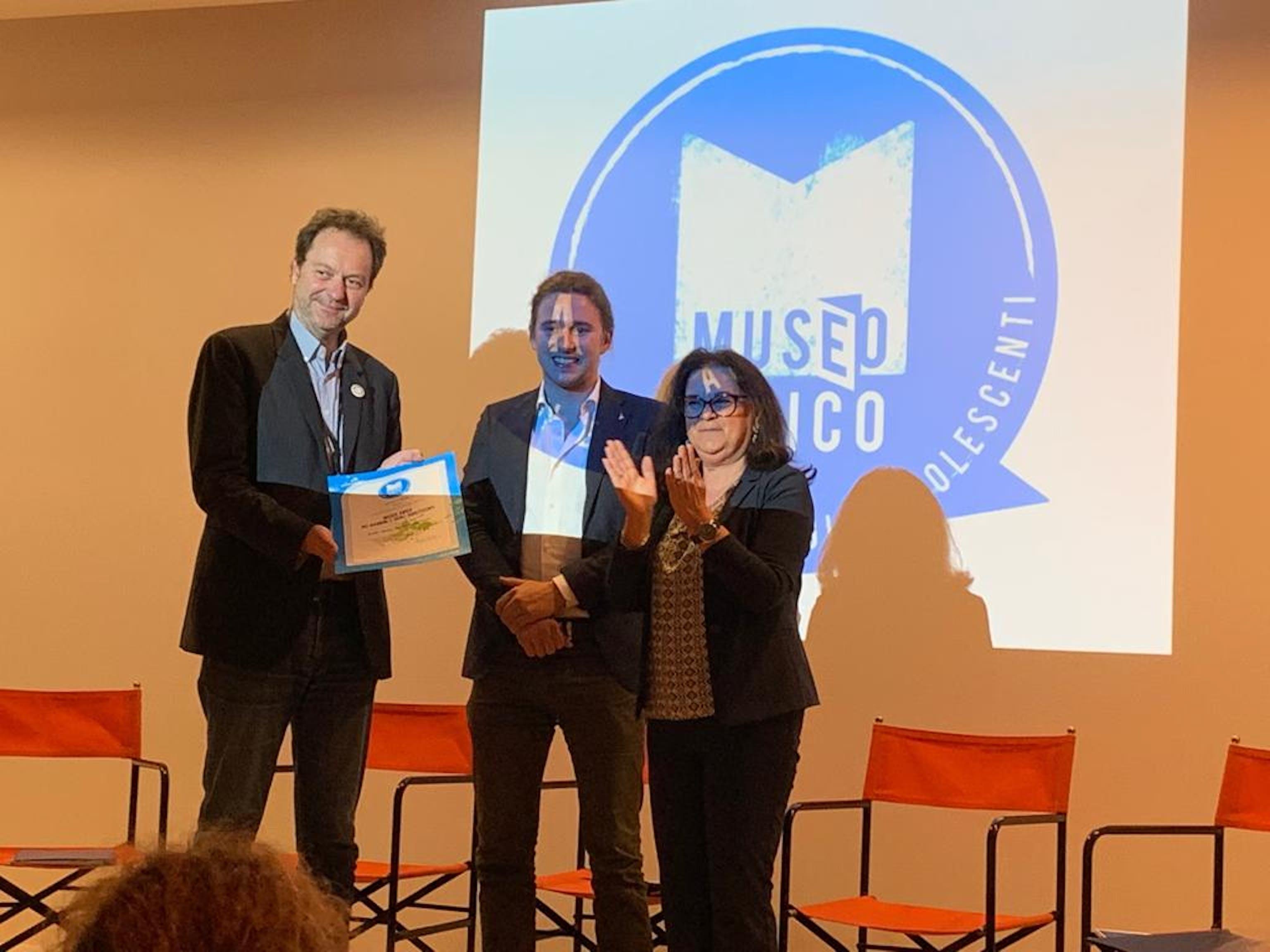 Il direttore del MUSE Michele Lanzinger, l'assessore all'Istruzione della provincia di Trento Mirko Bisesti e Manuela D'Alessandro (UNICEF Italia) - ©UNICEF Italia/2019/E.Chapin