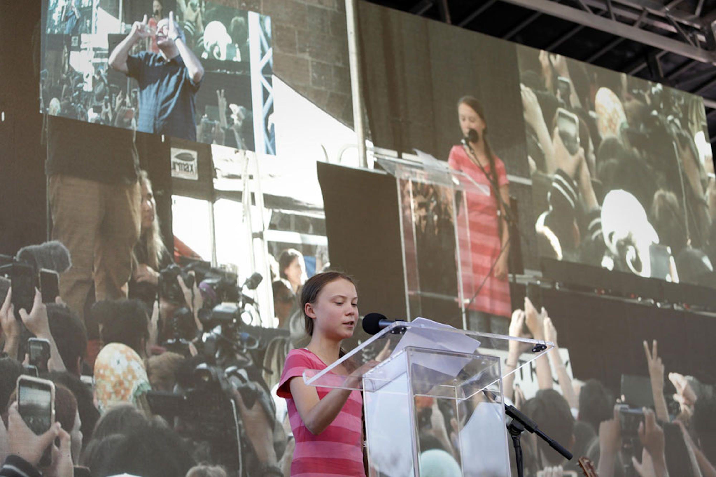 Greta Thunberg durante la manifestazione