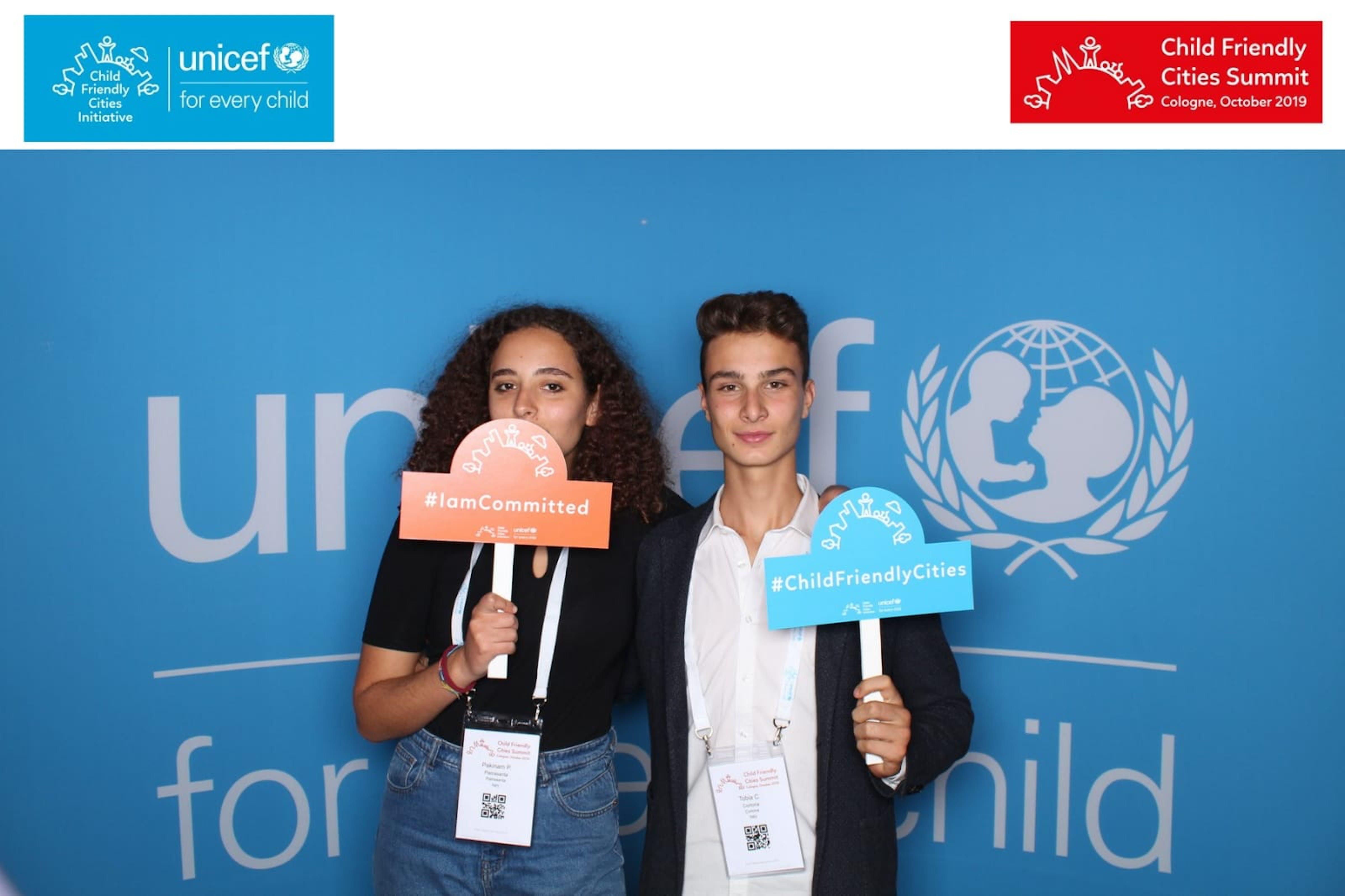 Pakinam Piccioli e Tobia Camorri, i due volontari Younicef che rappresentano i giovani italiani al Summit di Colonia - ©UNICEF Italia/2019/S.Rosati