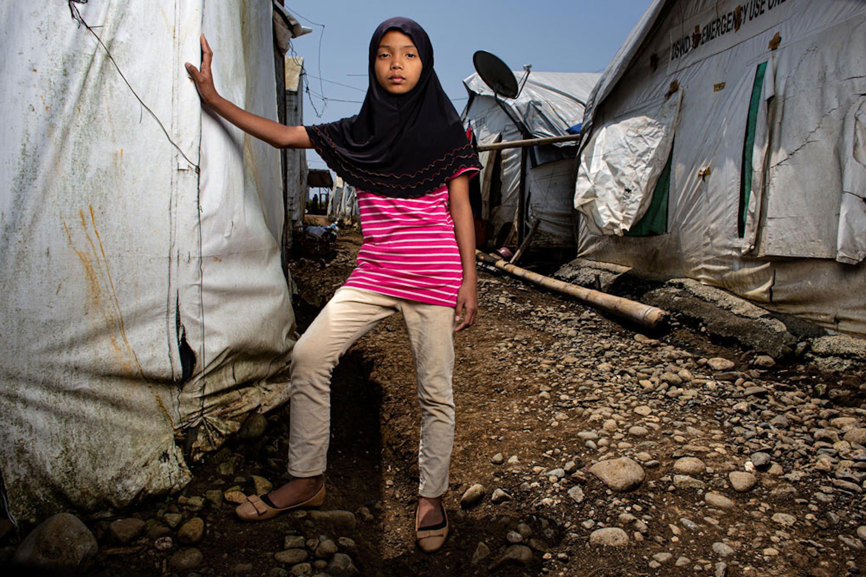 Jalaisa, 12 anni, vive nel campo per sfollati di Marawi (Filippine). La sua casa è stata distrutta nel conflitto tra esercito e separatisti islamici nell'isola di Mindanao - ©UNICEF/UNI212452/Kokic
