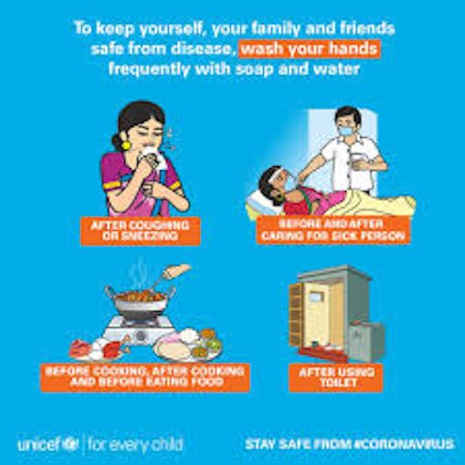 Uno dei numerosi messaggi di prevenzione del Covid-19 diffusi dall'UNICEF in Asia meridionale - ©UNICEF India