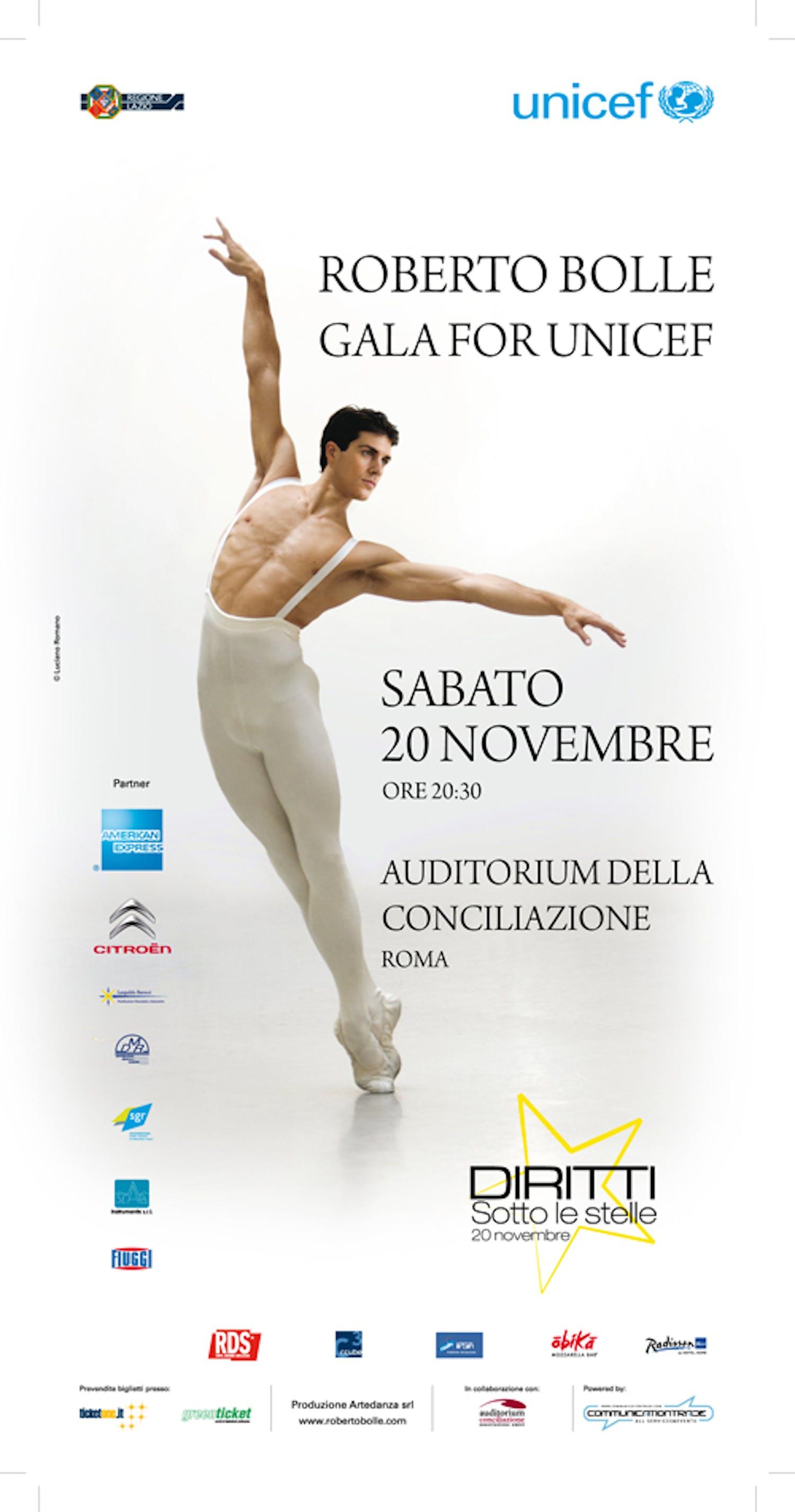 Roberto Bolle danzerà per l'UNICEF il 20 novembre a Roma