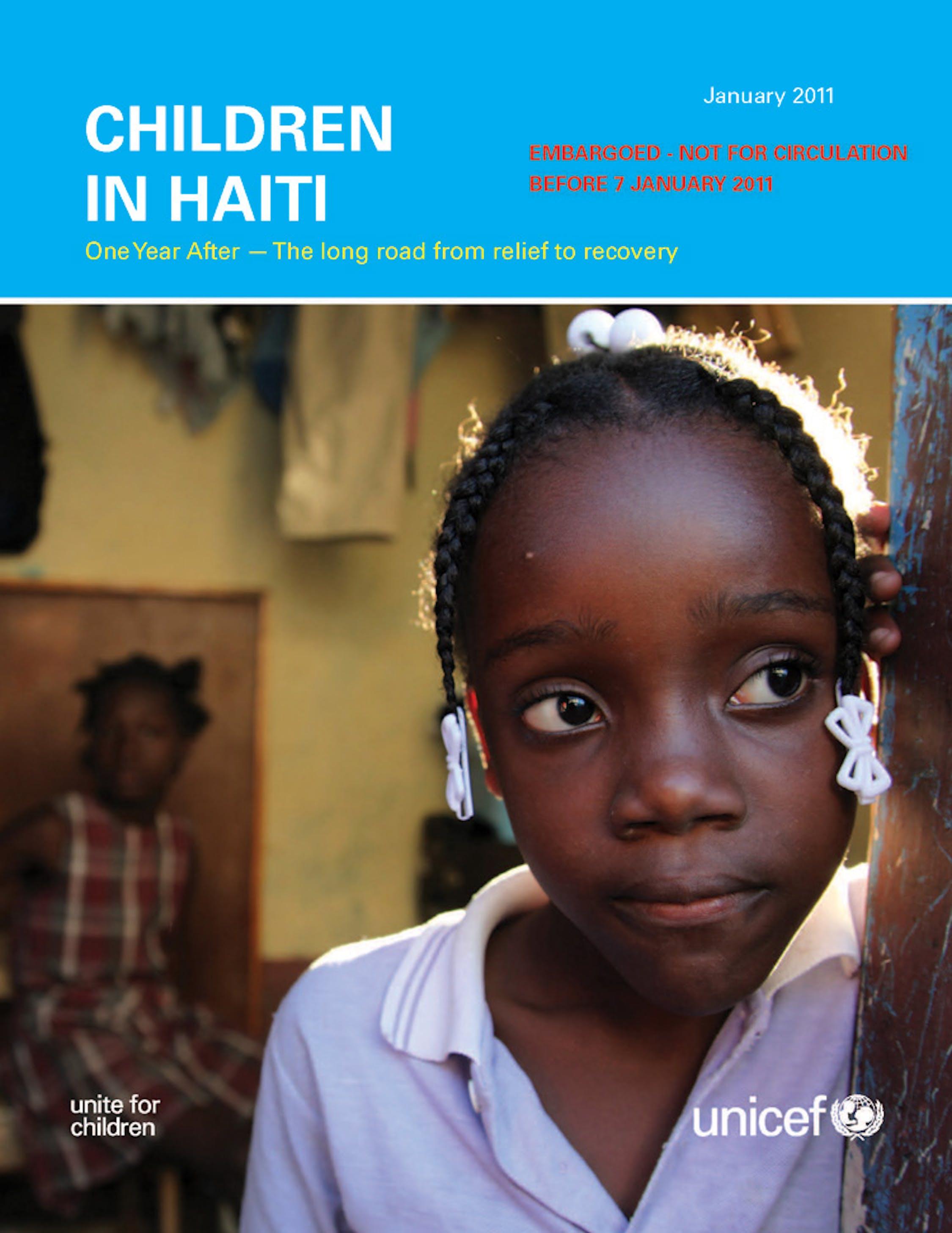 Copertina del rapporto UNICEF su Haiti un anno dopo - ©UNICEF/NYHQ2010-2639/LeMoyne