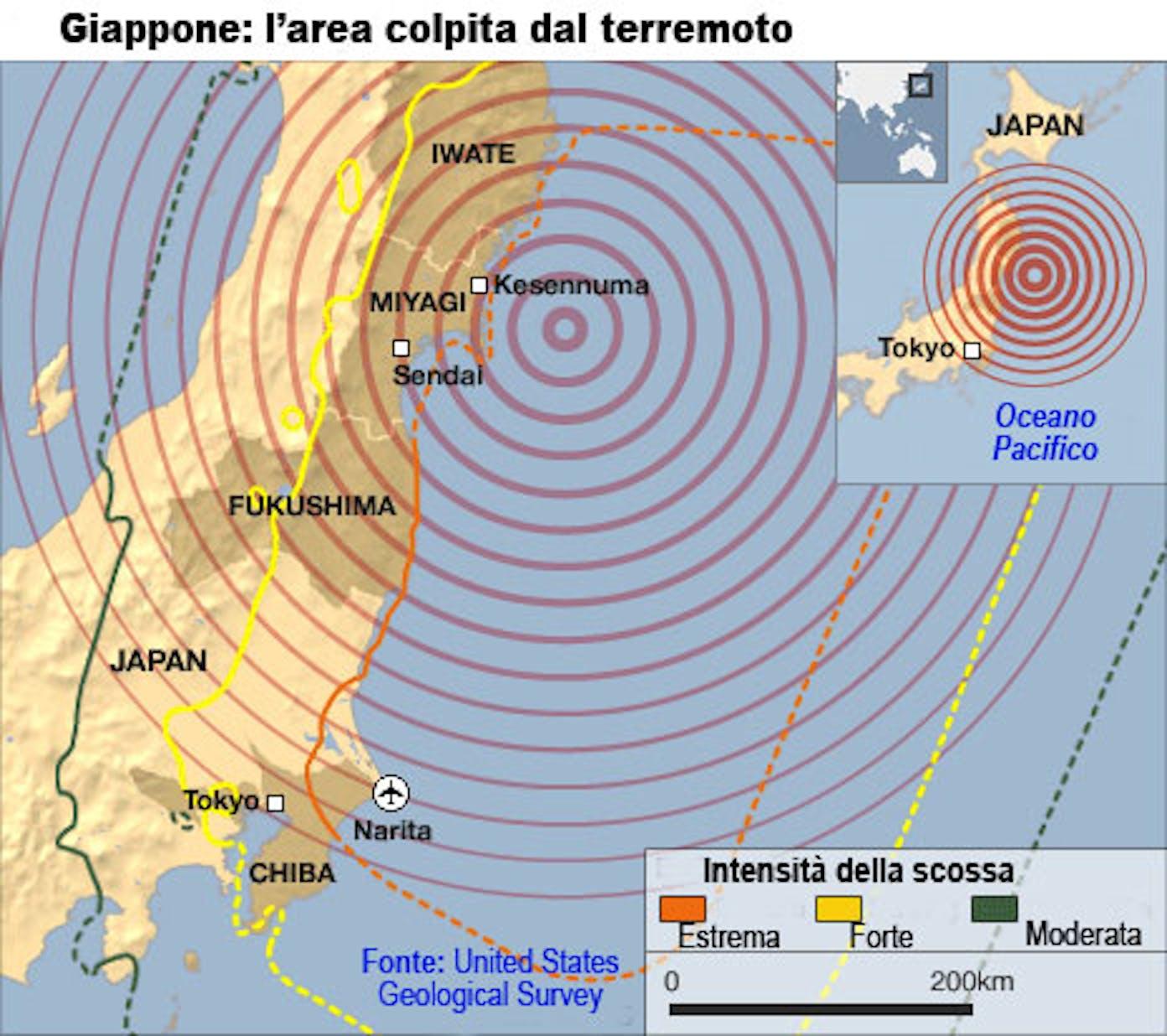 Giappone - Mappa del disastro