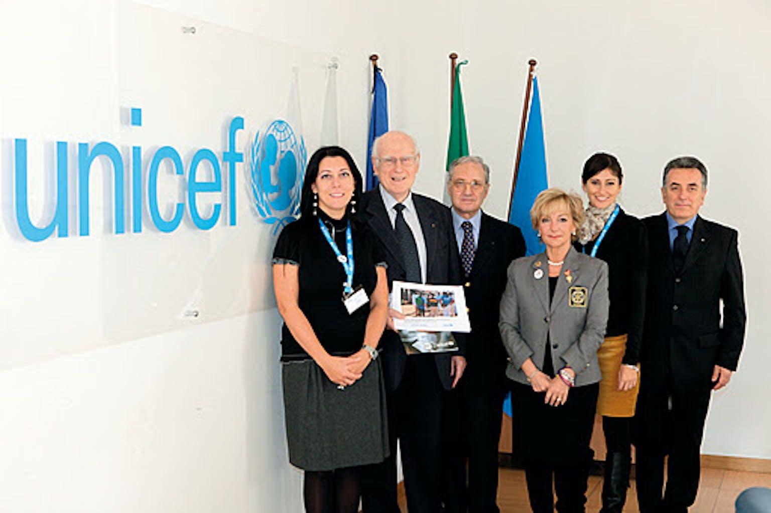 Una delegazione del Rotary in visita alla sede dell'UNICEF Italia