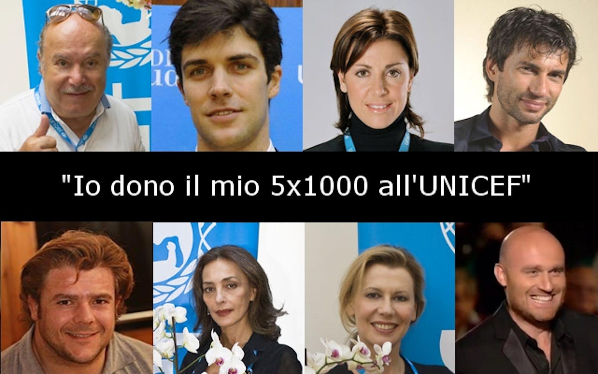Ambasciatori e testimonial che donano il 5x1000 all'UNICEF