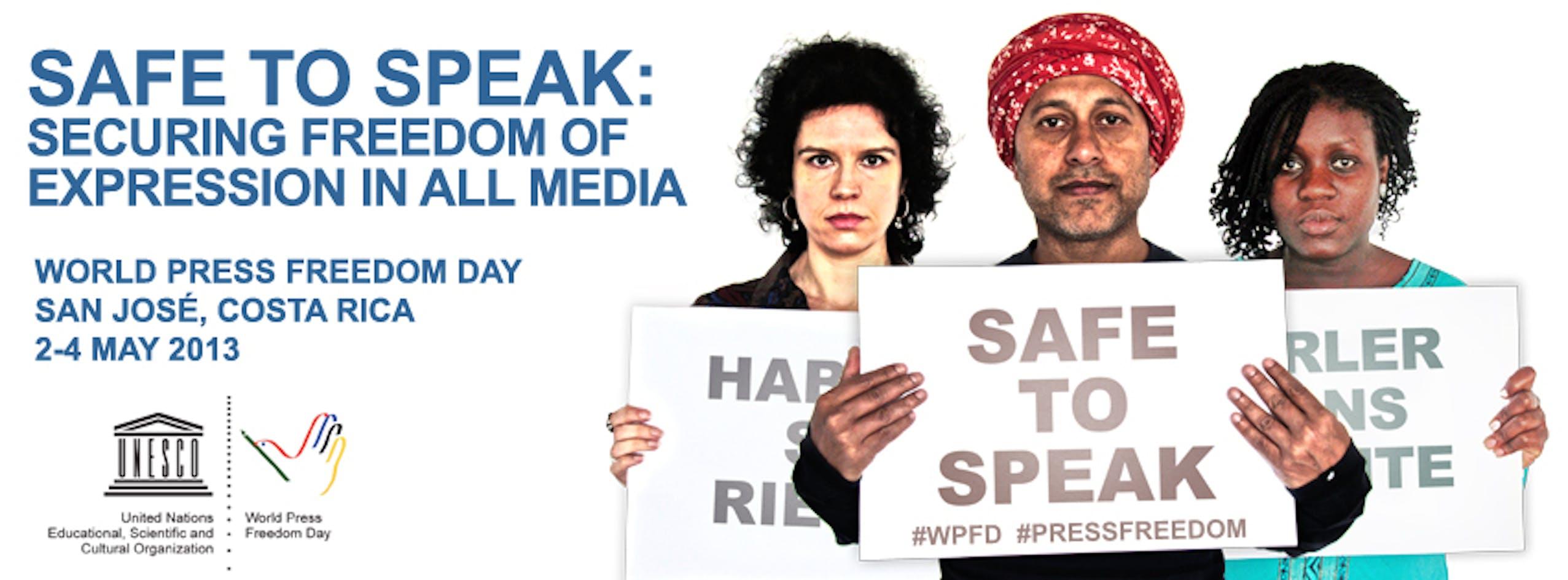 Il logo del World Press Freedom Day 2013