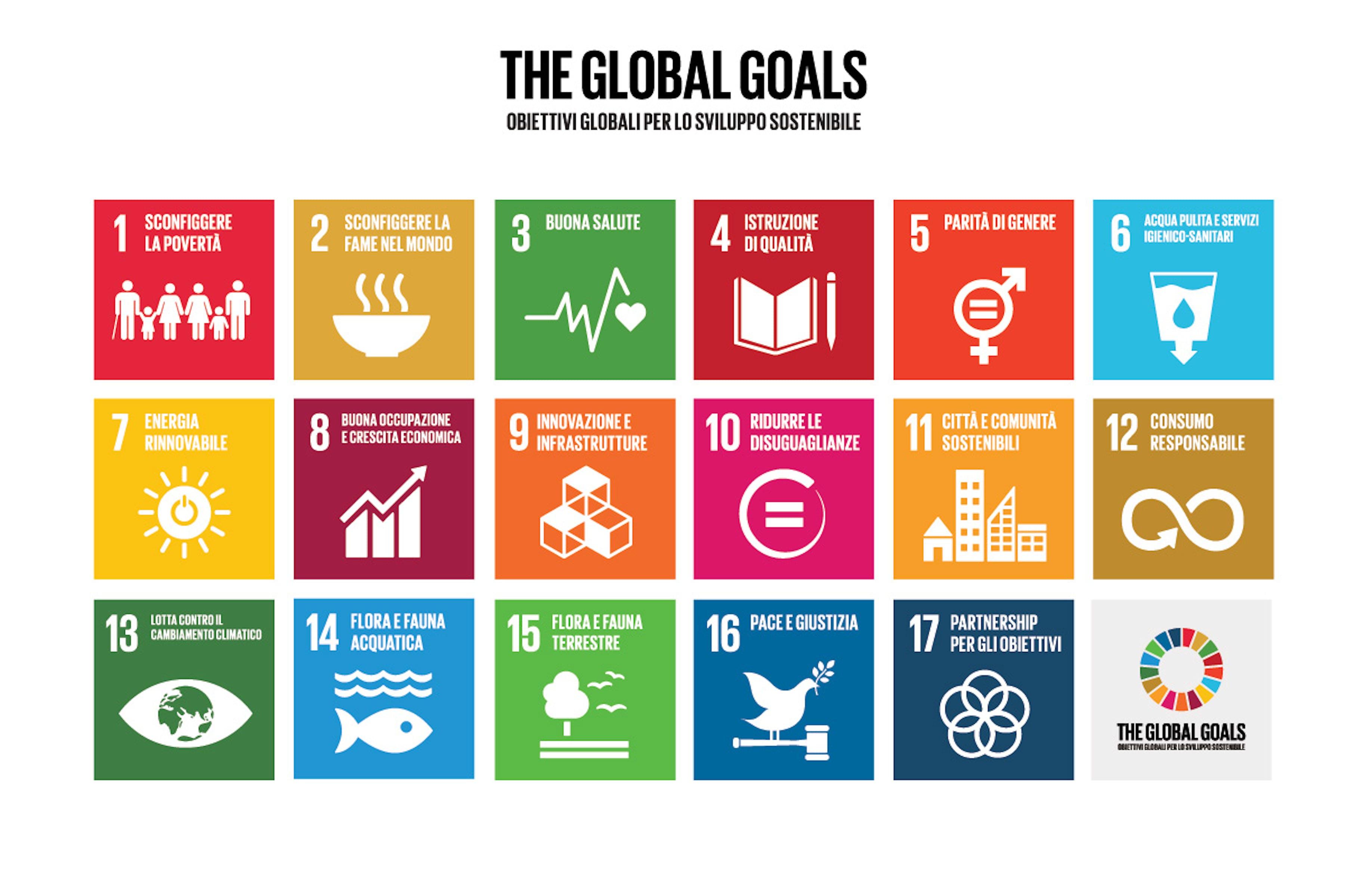 I 17 Obiettivi di Sviluppo Sostenibile (Sustainable Development Goals - SDG)