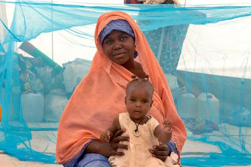 Saratu e il suo bambino, sfuggiti alle incursioni di Boko Haram, hanno una zanzariera per proteggersi dalla malaria nella loro tenda, nel campo per sfollati di Maiduguri, nello stato nigeriano di Borno -  ©UNICEF/NYHQ2015-1981/Andrew Esiebo