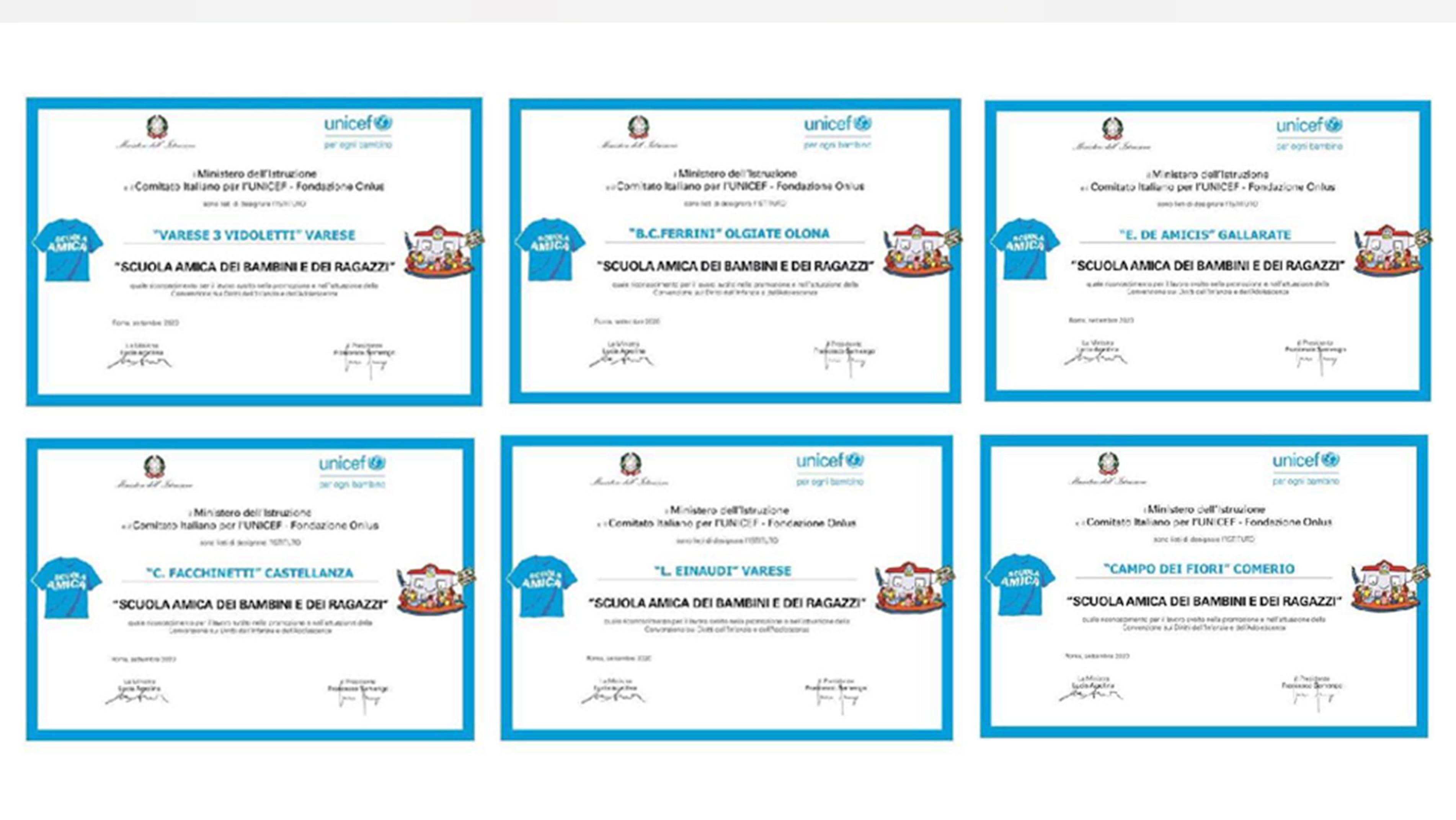 """UNICEF Varese premia sette """"Scuole Amiche delle bambine"""