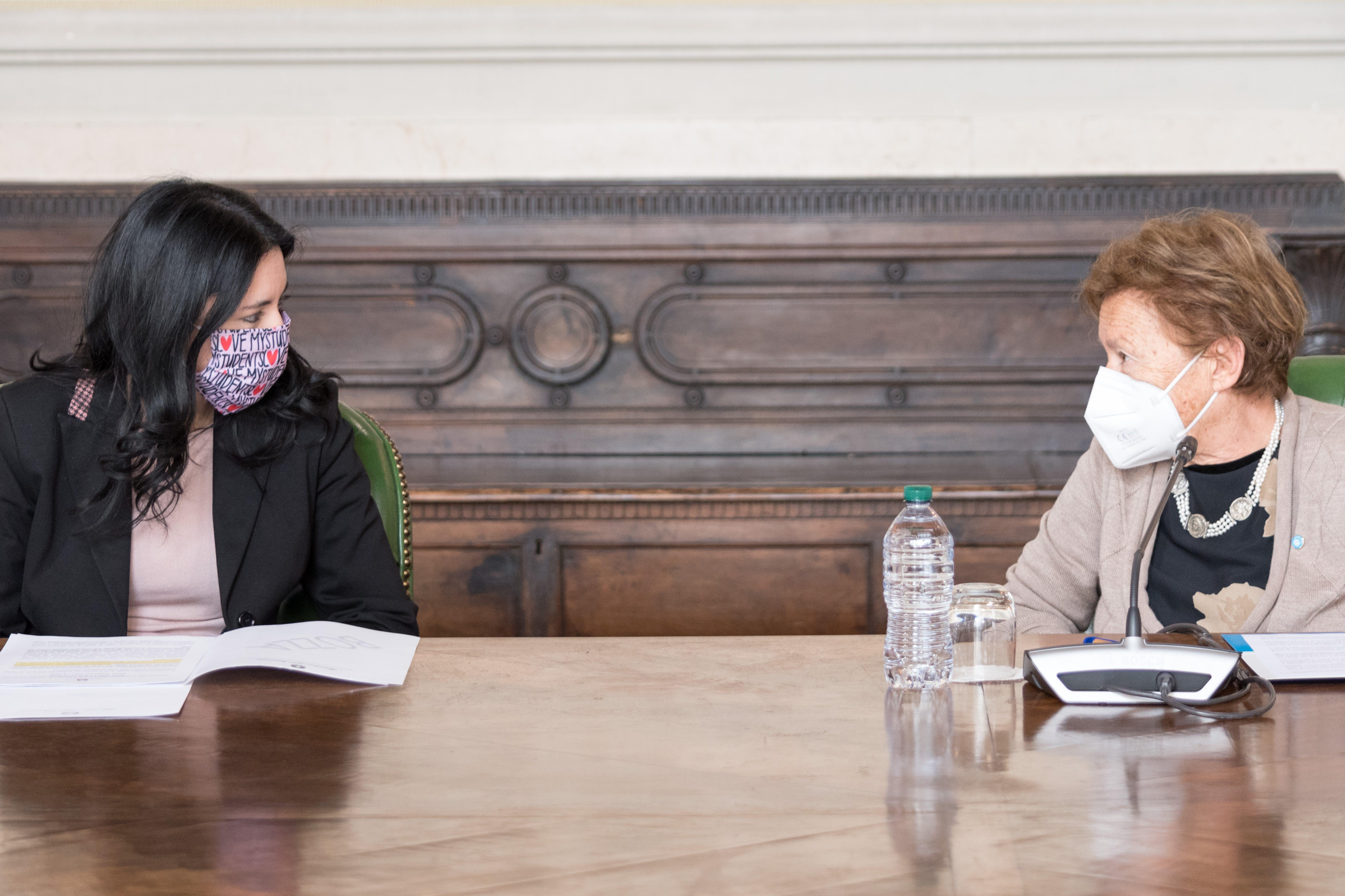 La Ministra dell'Istruzione Lucia Azzolina e la Presidente dell'UNICEF Italia Carmela Pace