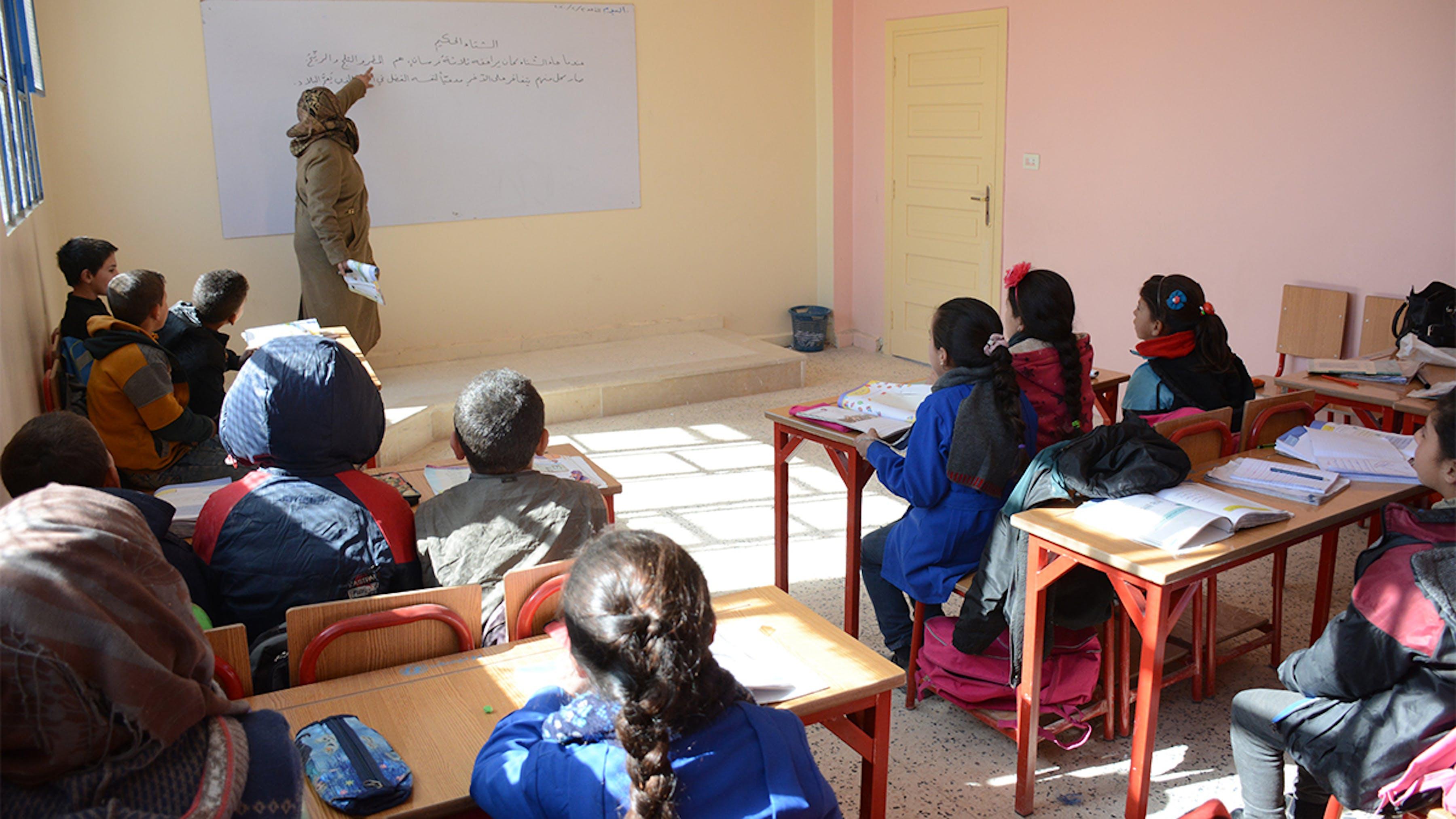 DOPO: aula ricostruita nella scuola Reyad Hamoud a Maheen, nel sud rurale di Homs.