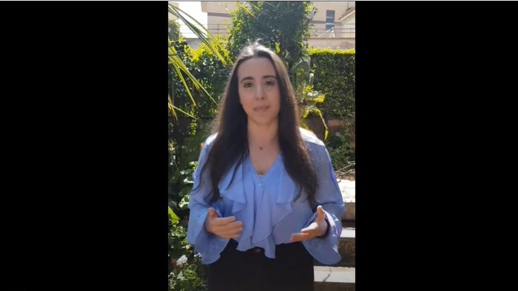 Federica Gasparro durante il videomessaggio per il clima