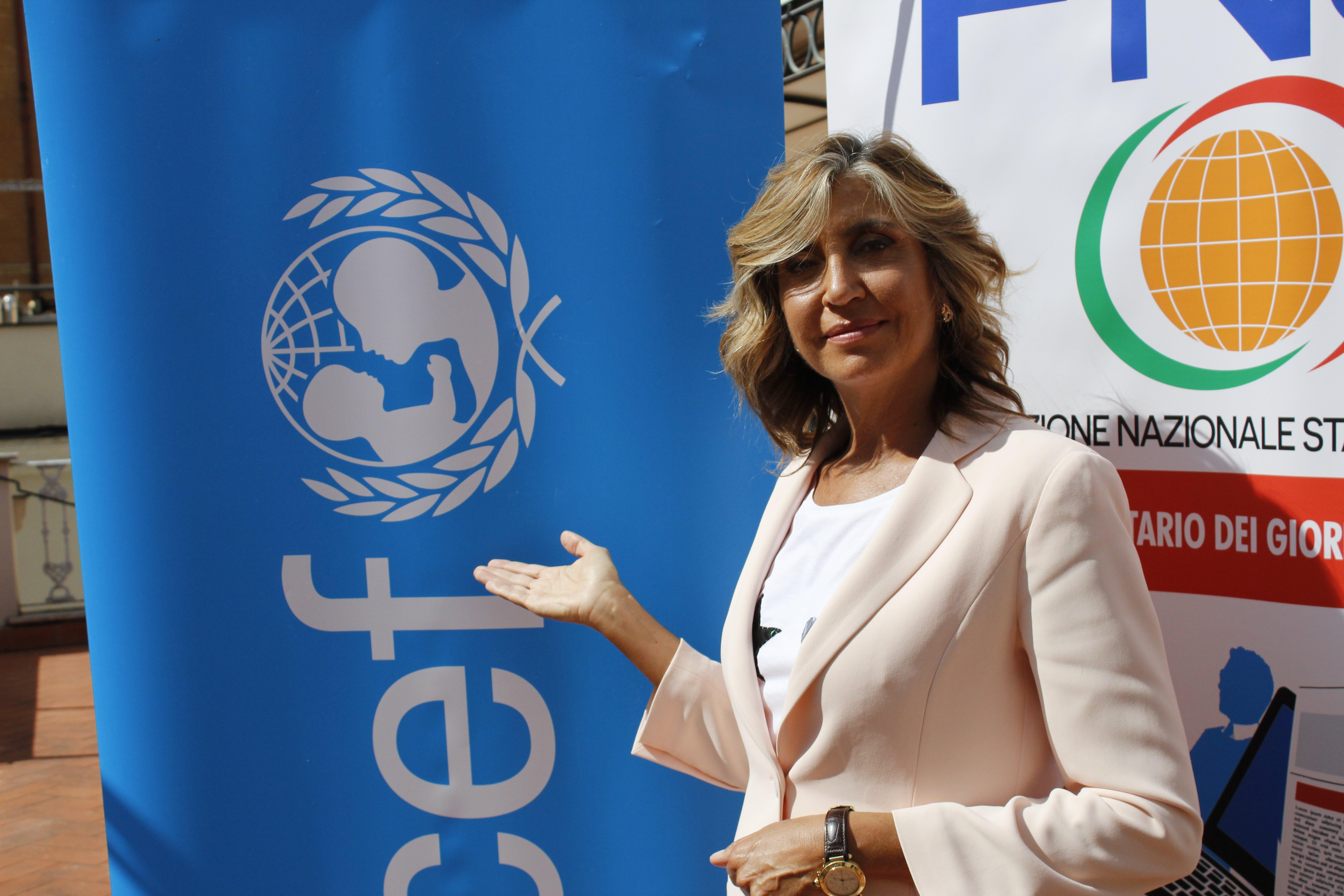 Myrta Merlino, Ambasciatrice di UNICEF Italia, prima dell'incontro con la Federazione Nazionale Stampa Italiana e UNICEF