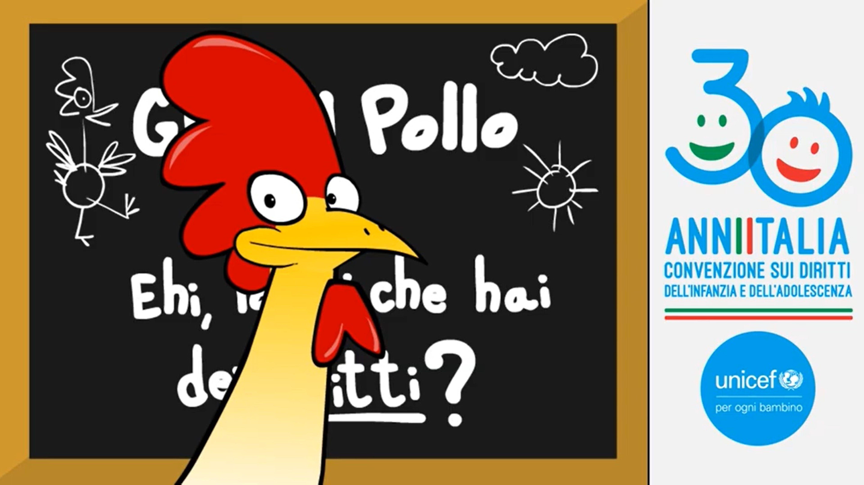 Gino il pollo a fianco dell'UNICEF per l'anniversario della Convenzione in Italia