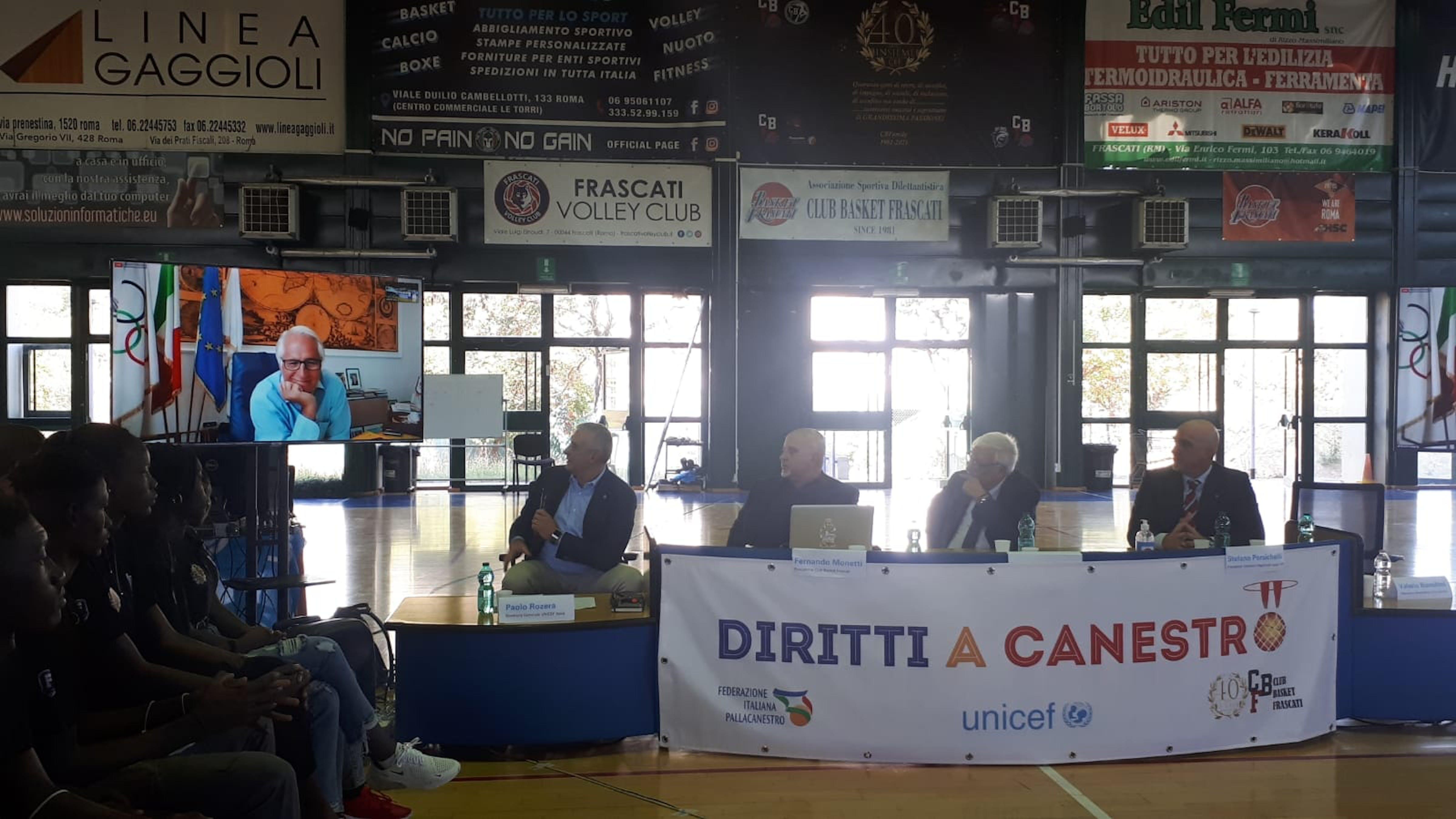 Frascati,  la conferenza stampa di presentazione del progetto Diritti a canestro