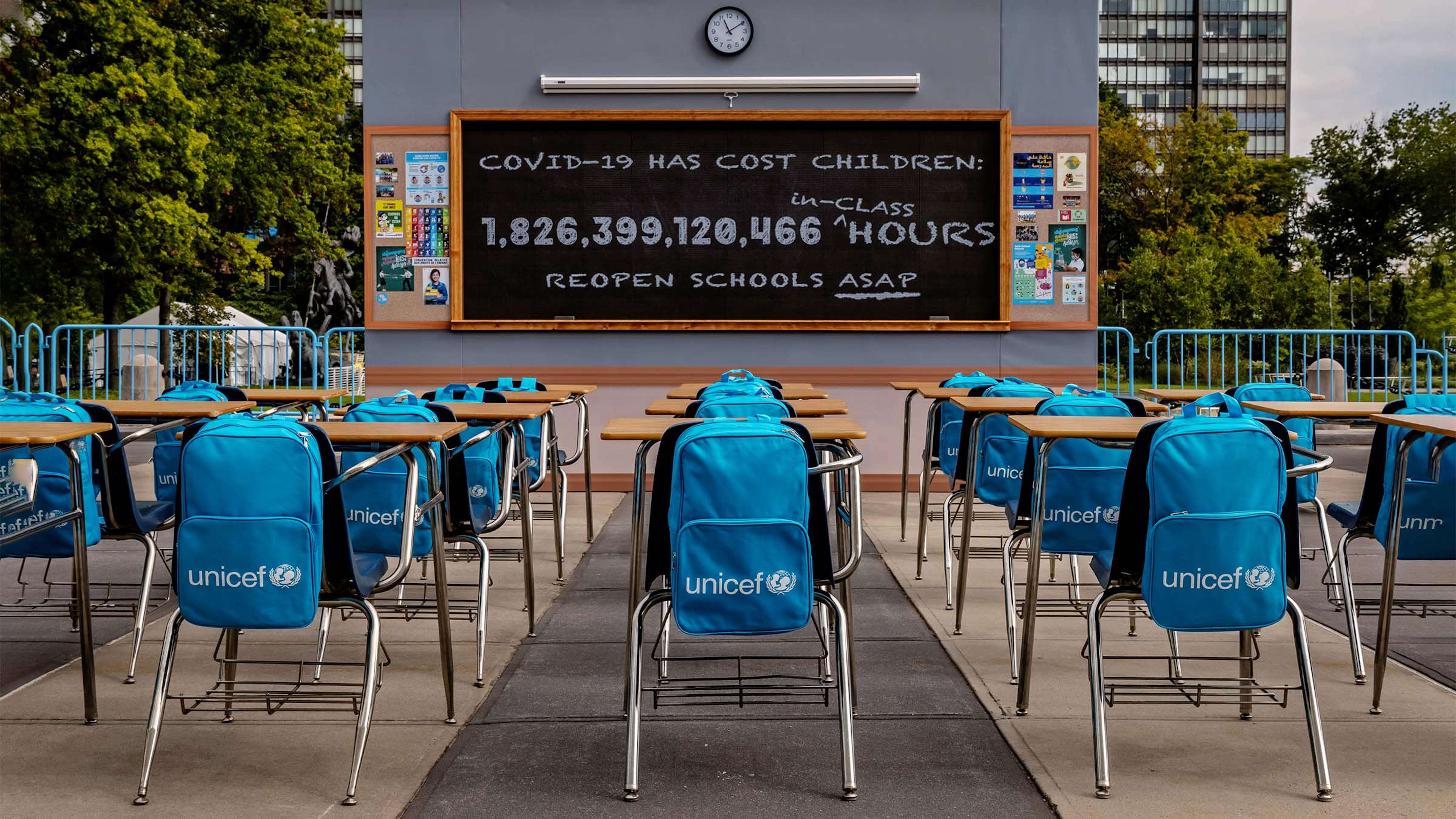 """New York - l'installazione """"No Time to Lose"""" dell'UNICEF presso la sede delle Nazioni Unite"""