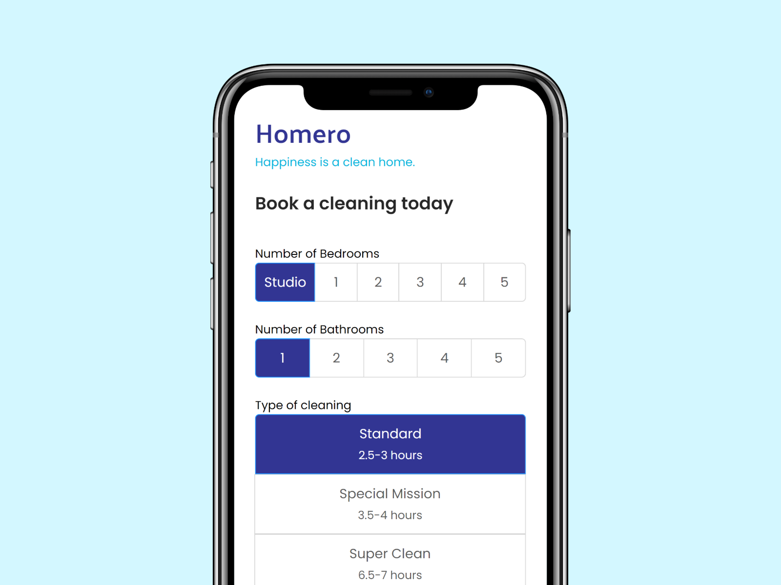 Homero booking app mockup