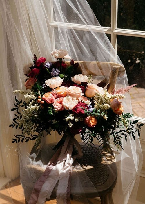 Bride's flower bouquet on the chair
