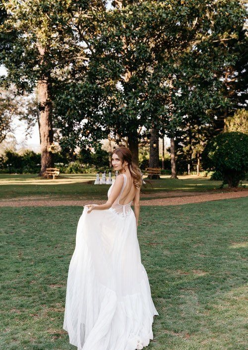 Bride with the White Dress Walking