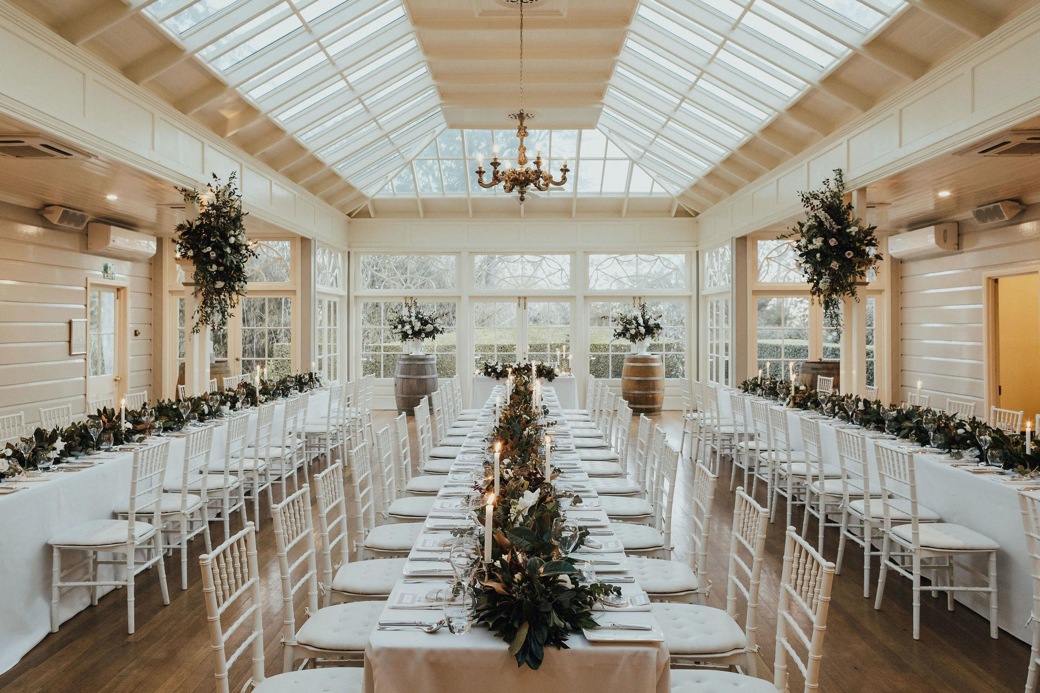 Reception area, The Conservatory, white linen long tables