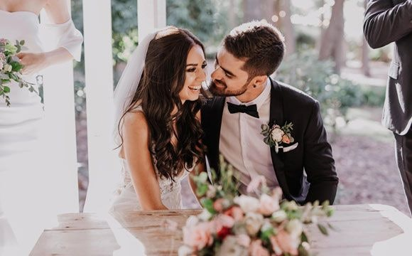 Sweet couple on their wedding day