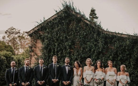 Nathan and Jess with their bridal party