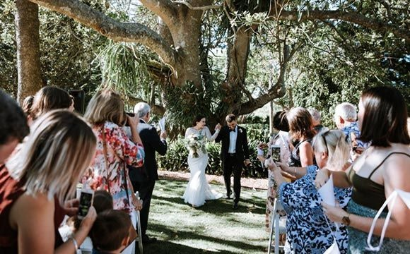 Couple celebrate saying i-do in front of guests