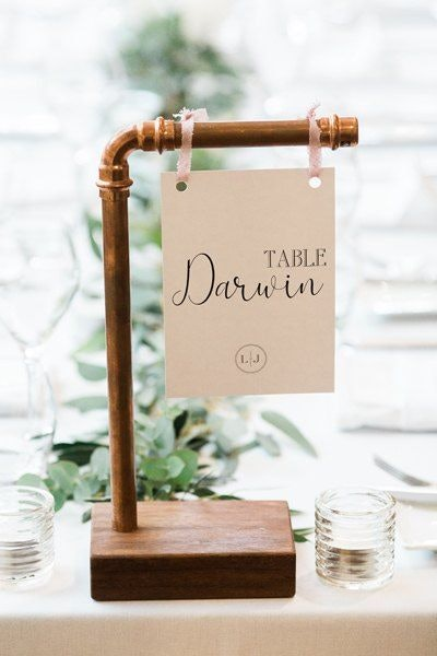 Unique wedding table signage