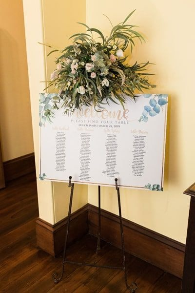 Wedding signage using soft floral illustrations and green foliage
