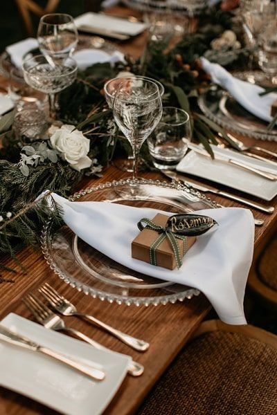 Wedding table setting with favours in rustic brown