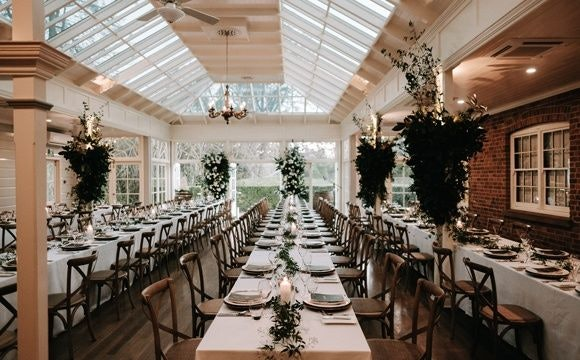 Wedding reception at Gabbinbar Homestead with deep, green and lush foliage