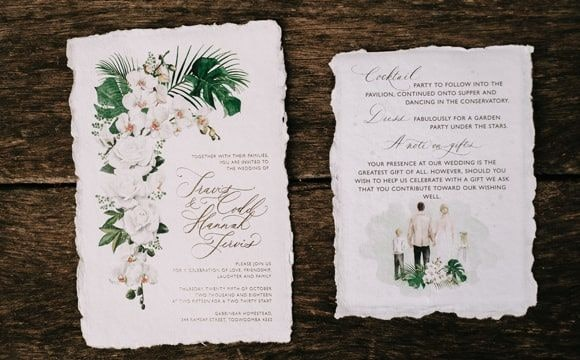 Classic white wedding invitation with illustration