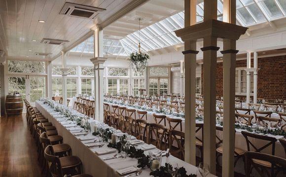 Wedding reception at Gabbinbar Homestead with white linen tablecloths
