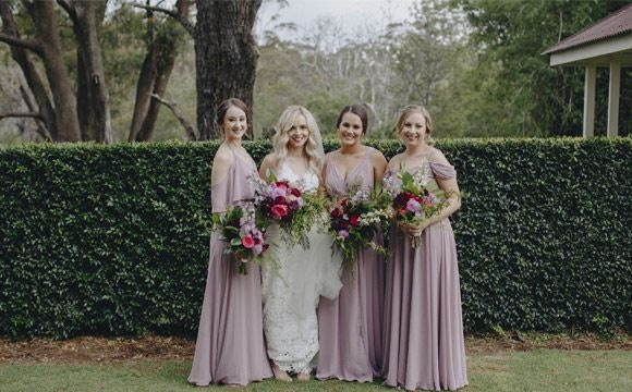 Elspeth and her bridesmaids in their dresses