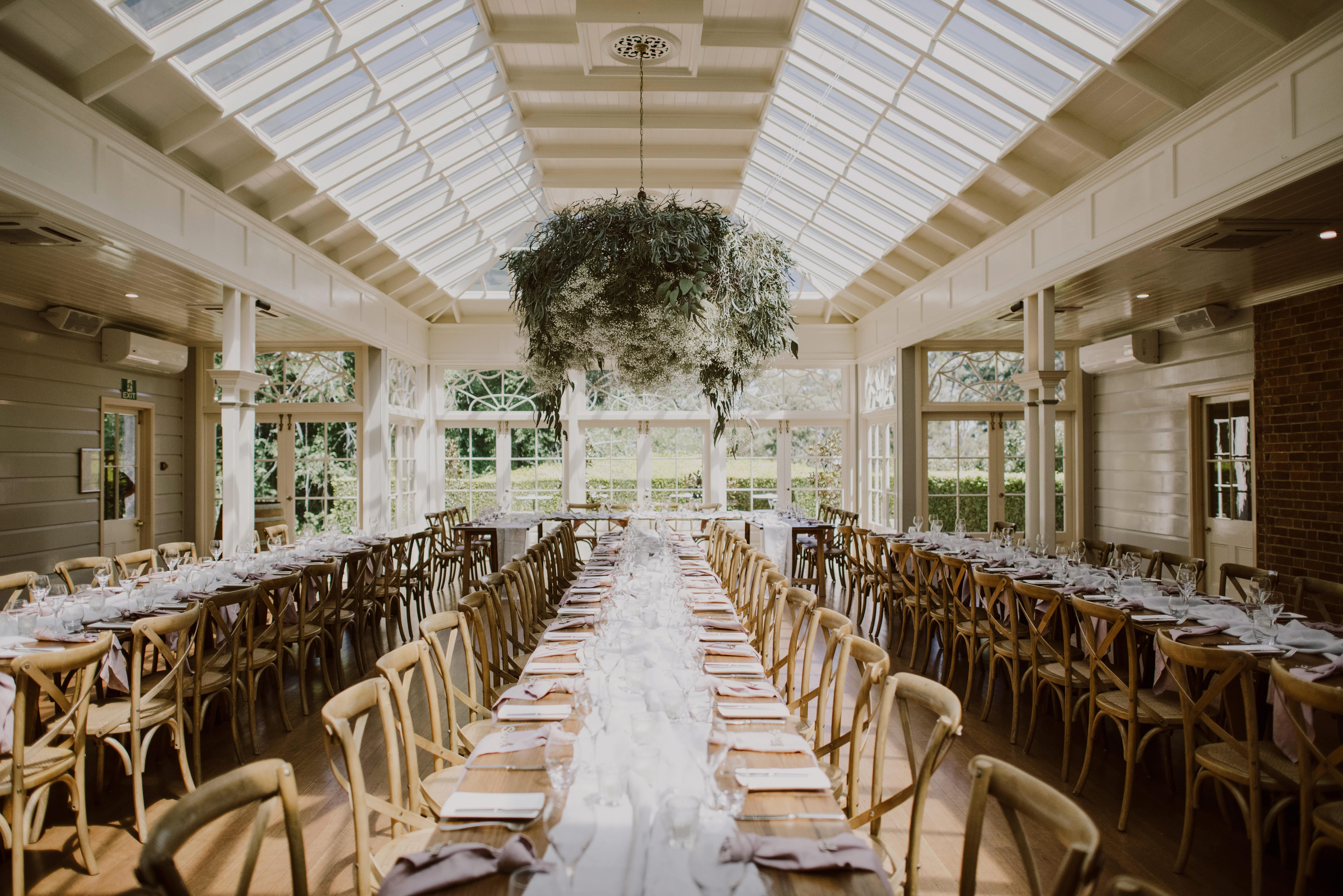 Reception in glass conservatory