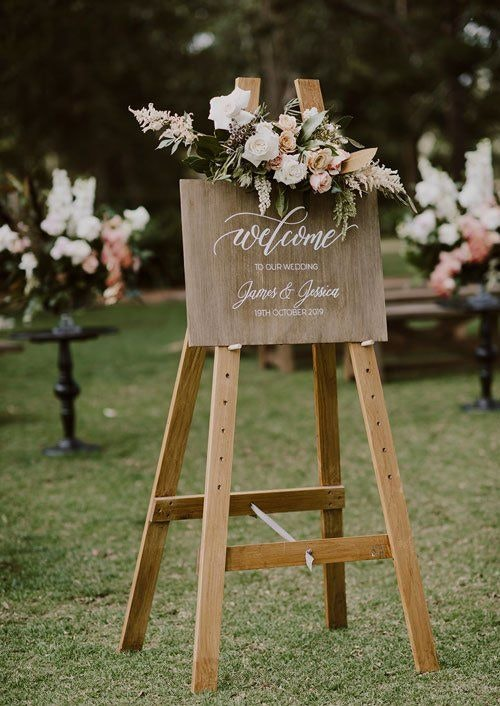 Welcome Board With Arranged Flowers